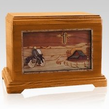 Motorcycle & Cross Mahogany Cremation Urn For Two