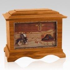 Motorcycle & Cross Mahogany Cremation Urn