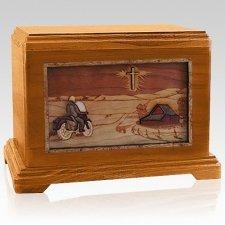 Motorcycle & Cross Mahogany Hampton Cremation Urn