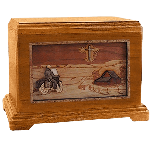 Motorcycle & Cross Mahogany Hampton Cremation Urn
