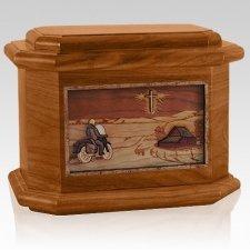 Motorcycle & Cross Mahogany Octagon Cremation Urn