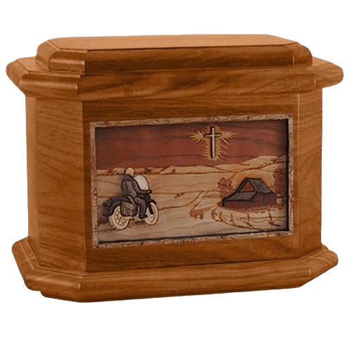Motorcycle & Cross Mahogany Octagon Cremation Urn