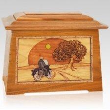 Motorcycle & Moon Mahogany Aristocrat Cremation Urn