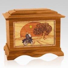 Motorcycle & Moon Mahogany Cremation Urn