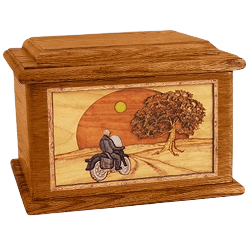 Motorcycle & Moon Mahogany Memory Chest Cremation Urn