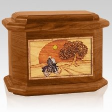 Motorcycle & Moon Mahogany Octagon Cremation Urn