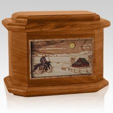 Motorcycle Moon Mahogany Octagon Cremation Urn