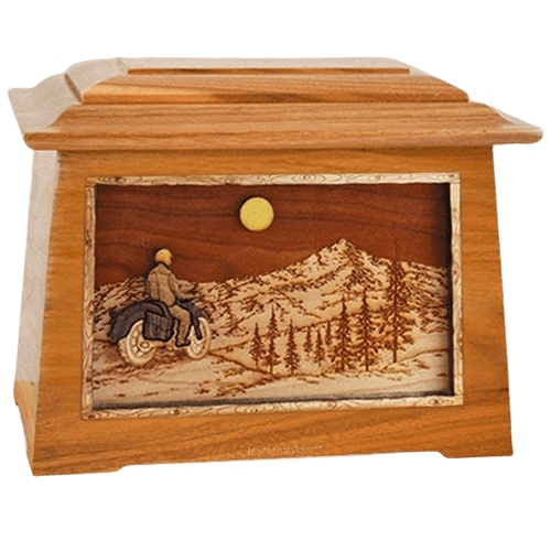 Motorcycle Mountains Mahogany Aristocrat Cremation Urn