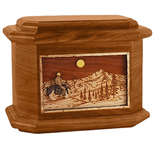Motorcycle Mountains Mahogany Octagon Cremation Urn