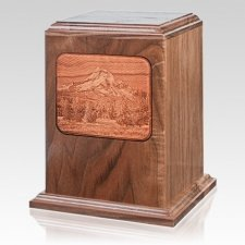 Mount Hood Walnut Wood Cremation Urn