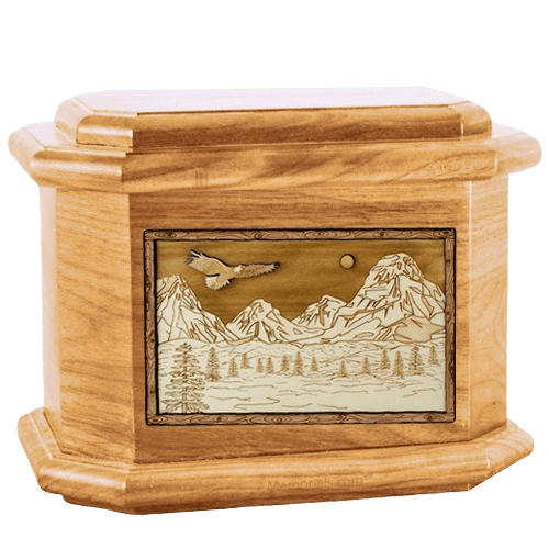 Mount Splendor Oak Octagon Cremation Urn
