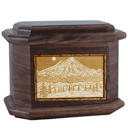 Mt Baker Walnut Octagon Cremation Urn