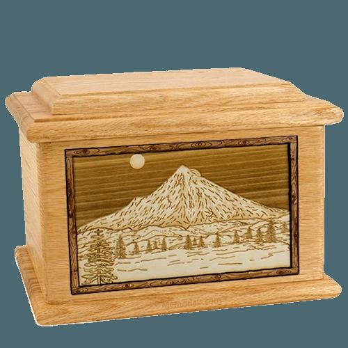 Mt Hood Oak Memory Chest Cremation Urn