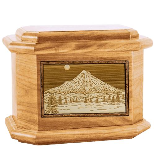 Mt Hood Oak Octagon Cremation Urn