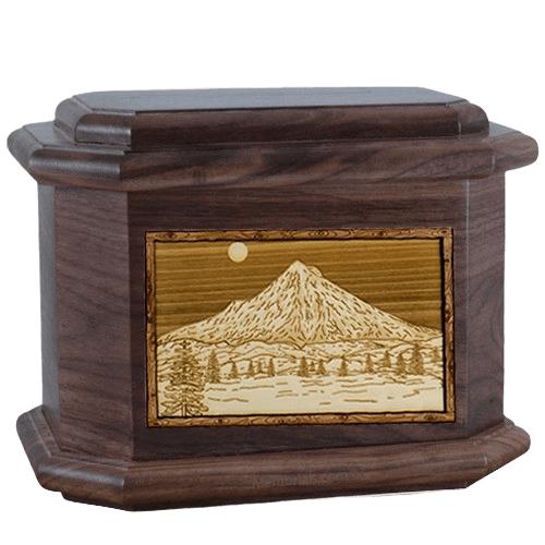 Mt Hood Walnut Octagon Cremation Urn