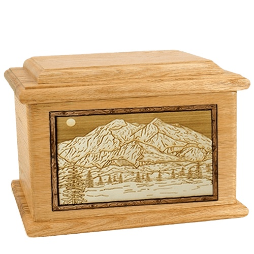 Mt McKinley Oak Memory Chest Cremation Urn