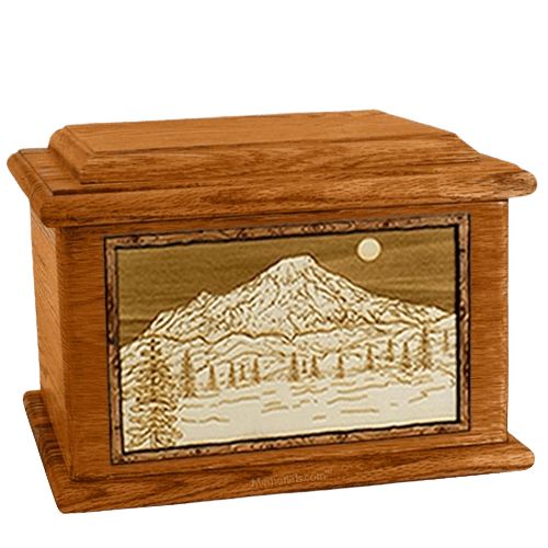 Mt Rainier Mahogany Memory Chest Cremation Urn