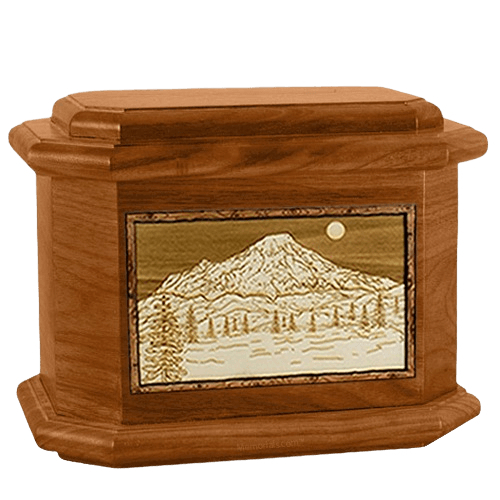 Mt Rainier Mahogany Octagon Cremation Urn