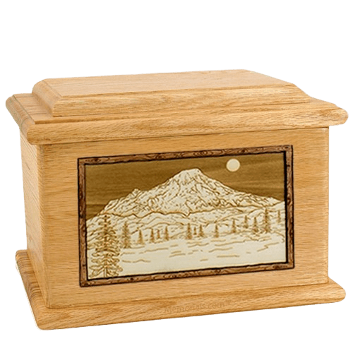 Mt Rainier Oak Memory Chest Cremation Urn