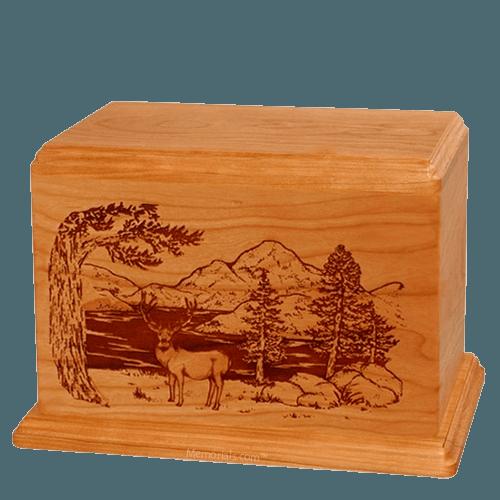 Mule Deer Companion Mahogany Wood Urn