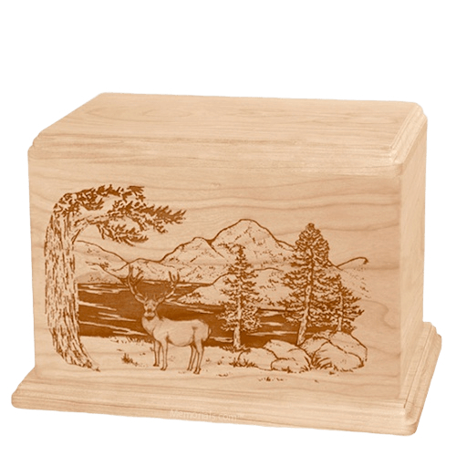 Mule Deer Companion Maple Wood Urn