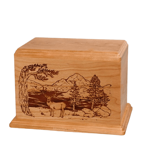 Mule Deer Individual Cherry Wood Urn