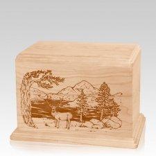 Mule Deer Individual Maple Wood Urn