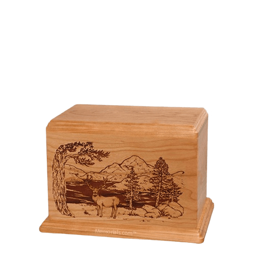 Mule Deer Small Cherry Wood Urn