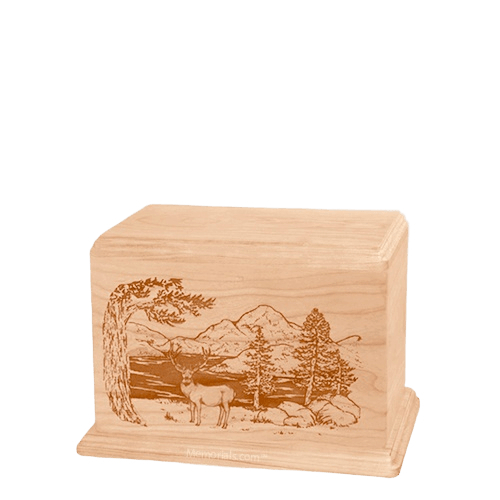 Mule Deer Small Maple Wood Urn
