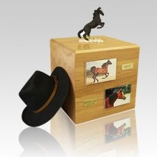 Mustang Black Full Size Large Horse Urn