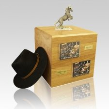 Mustang Gray Full Size Horse Urns