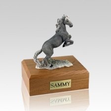 Mustang Gray Medium Horse Cremation Urn