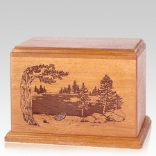 New Lake Companion Cherry Wood Urn