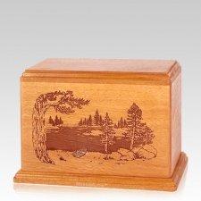 New Lake Individual Mahogany Wood Urn