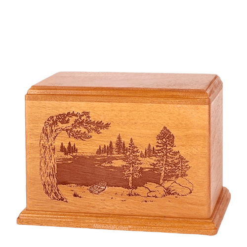 New Lake Individual Mahogany Wood Urn