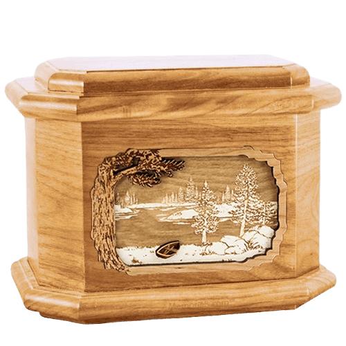New Lake Oak Octagon Cremation Urn