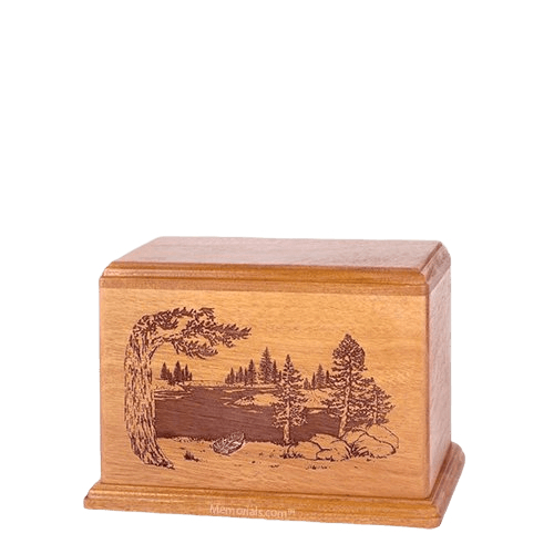 New Lake Small Cherry Wood Urn