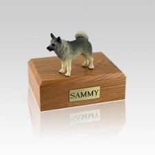 Norwegian Elkhound Standing Small Dog Urn