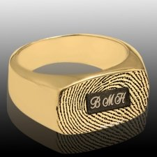 Oblong 14k Gold Cremation Print Ring