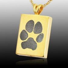 Oblong Paw Tag 14k Gold Print Cremation Keepsakes