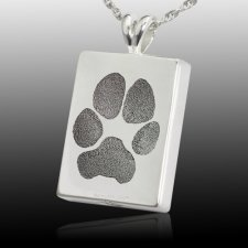 Oblong Paw Tag 14k White Gold Print Cremation Keepsakes