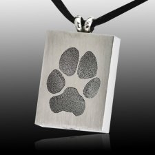 Oblong Paw Tag Stainless Print Cremation Keepsakes