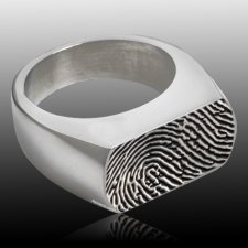 Oblong Stainless Cremation Print Ring