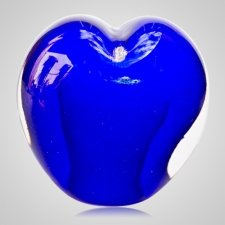 Ocean Blue Cremation Ash Glass Heart