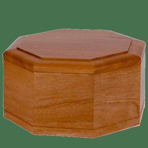 Octagon Mahogany Wood Cremation Urn