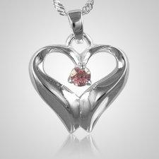 October Birthstone Cremation Heart