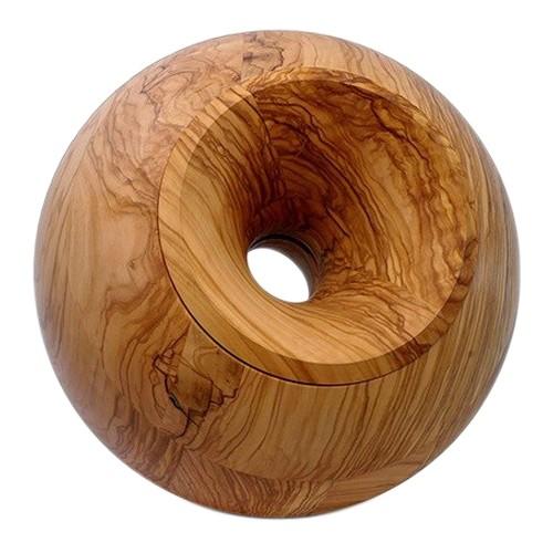 Olive Sphere Wood Pet Urn