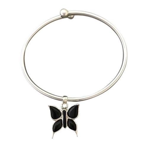 Onyx Butterfly Ash Cremation Bracelet