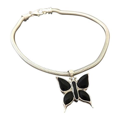 Onyx Butterfly Cremation Bracelet