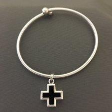 Onyx Cross Ash Cremation Bracelet